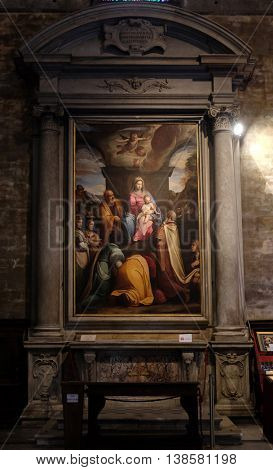 LUCCA, ITALY - JUNE 06, 2015: Altarpiece depicting Adoration of the Magi, work by Federico Zuccari in Cathedral of St.Martin in Lucca, Italy, on June 06, 2015