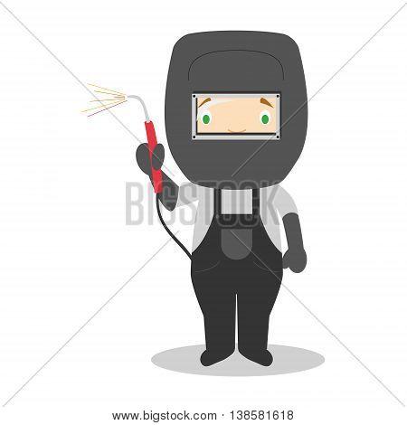 Cute cartoon vector illustration of a welder