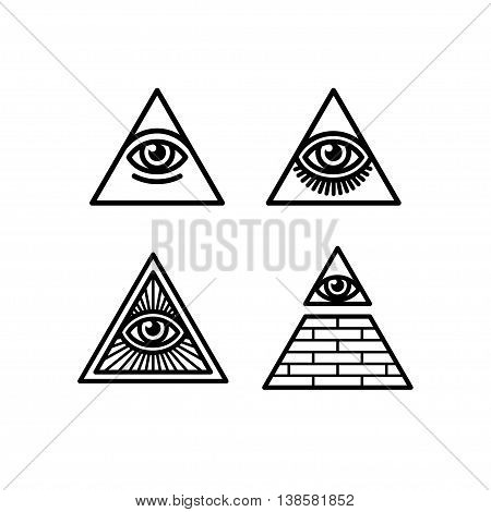 All Seeing Eye icons set. Illuminati symbol in different styles.