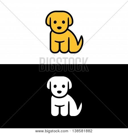 Puppy icon isolated on white and black background. Cute little cartoon puppy vector illustration. Vet or pet shop logo.