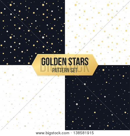 Seamless star pattern set. Tileable vector backgrounds of golden and silver metellic stars on white and black.