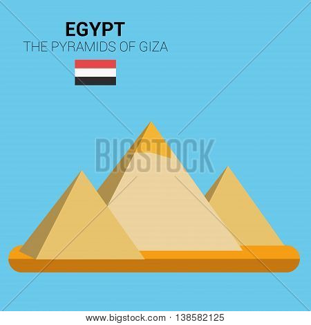 Monuments and landmarks Vector Collection: The Pyramids of Giza. Descripción: Vector illustration of  The Pyramids of Giza (Egypt). Monuments and landmarks Collection. EPS 10 file compatible and editable.