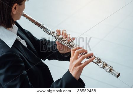 Woman Playing Transverse Flute