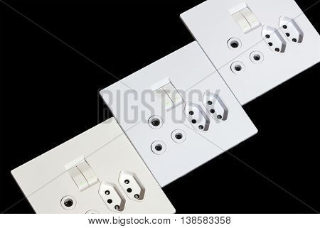 Three Beige And White Multipurpose Wall Mount Sockets