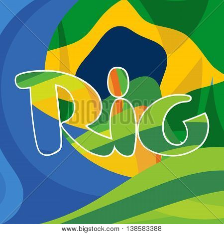 Abstract rio logo over Brasil national colors background. Digital vector image.