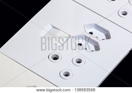 Close Up White Multipurpose Wall Mount Sockets And Switches