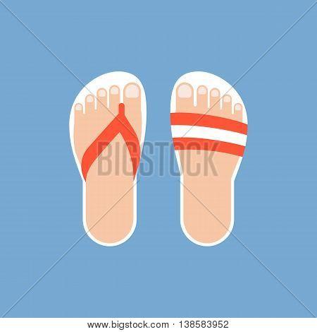 sandals illustration vector, flat design on cyan background