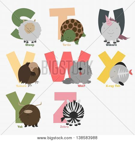 Alphabet with animals and birds to study letters