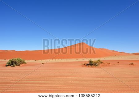 Beautiful landscape with a big red dunes Sossusvlei Namib Naukluft National Park Namib desert Namibia