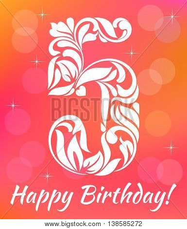 Bright Greeting Card Invitation Template. Celebrating 5 Years Birthday. Decorative Font With Swirls