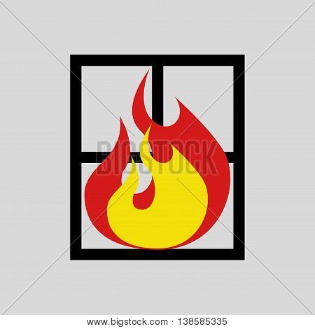 firefighter job with fire icon, vector illustration