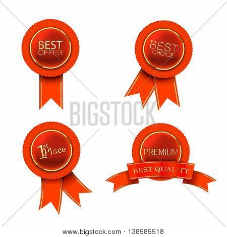 High quality red labels with ribbons and gold straps - vector eps 10 format