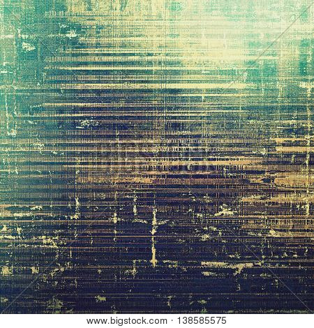 Weathered grunge elements on vintage texture for your design. Aged background with different color patterns: yellow (beige); gray; black; green; cyan; purple (violet)