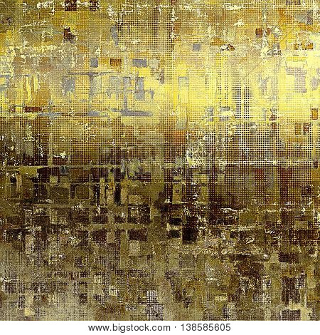 Old school frame or background with grungy textured elements and different color patterns: yellow (beige); brown; gray; black; white