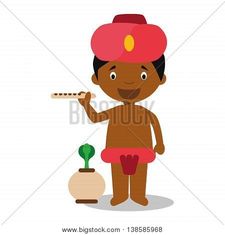 Character from India dressed in the traditional way as a snake charmer. Vector Illustration. Kids of the World Collection.