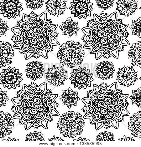 Black white monochrome circle mandala doodle pattern background texture