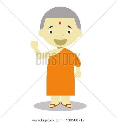 Buddhist character from Nepal dressed in the traditional way Vector Illustration. Kids of the World Collection.
