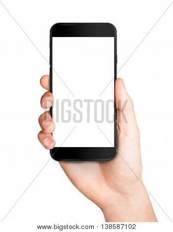 Man hand holding the black smartphone mockup template