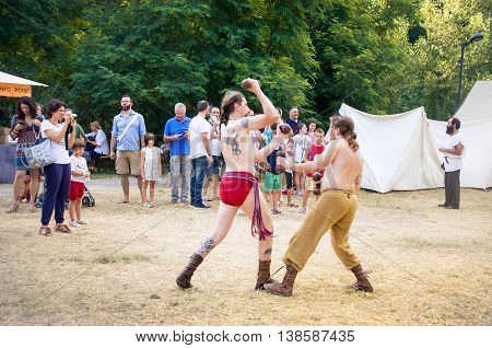 Monterenzio Italy 09 July 2016 - two fighters having a duel during a Celtic festival