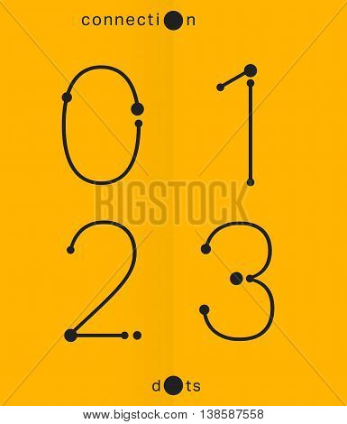 Alphabet font template. Set of numbers 0 1 2 3 logo or icon. Connection dots design. Vector illustration.
