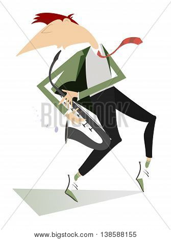 Saxophonist. Saxophonist is playing music with inspiration