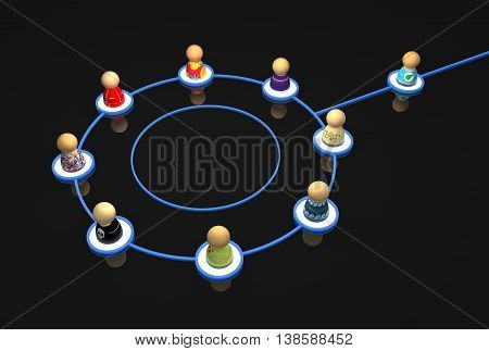 Group of small symbolic figures linked by lines 3d illustration horizontal