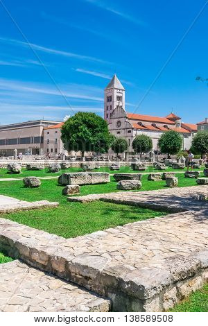 Zadar, Croatia - July 28, 2015: Church And Monastery Of St. Mary And The Ancient Monuments In Front