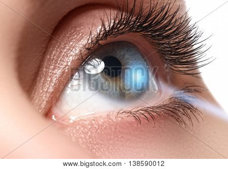 Laser Vision Correction. Woman's Eye. Human Eye. Woman Eye