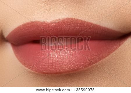 Close-up Of Woman's Lips With Fashion Natural White Coffee Lips