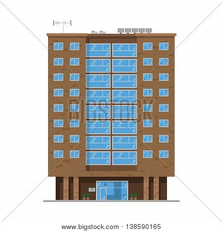 Cute cartoon vector illustration of a residential building