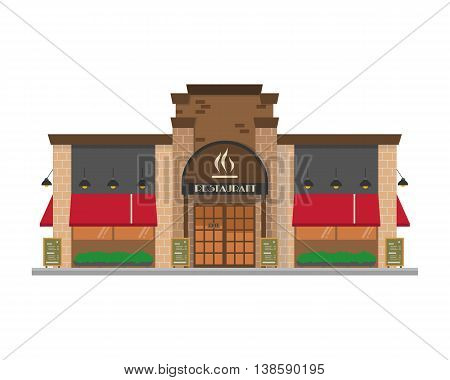 Cute cartoon vector illustration of a restaurant
