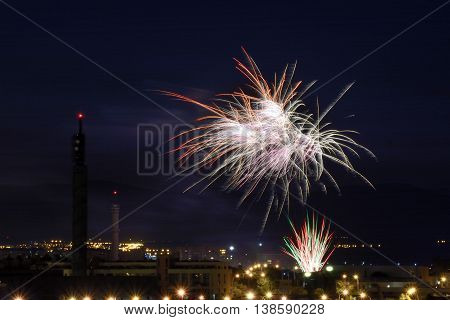 night photography colorful fireworks at parties tres cantos