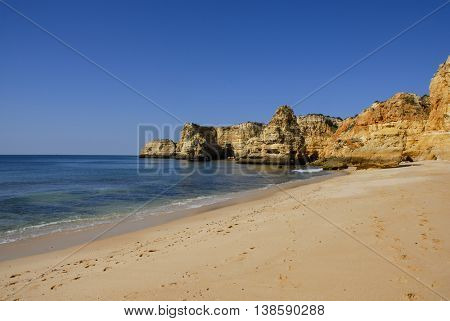 portuguese beach of Marinhas at Algarve, the south of the country