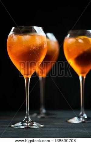 Summer Refreshing Aperitif Drink Aperol Spritz Dark Background