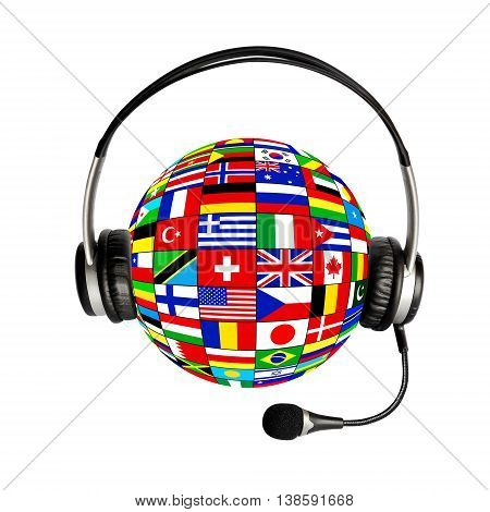 Collage ball of national flags and headphones with microphone on white background