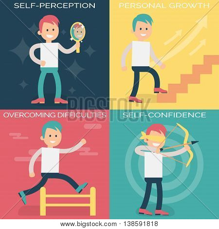 Psychology terms illustrations for achieving success in life and business. Confident person setting personal and professional goals, working over them and overcoming difficulties.