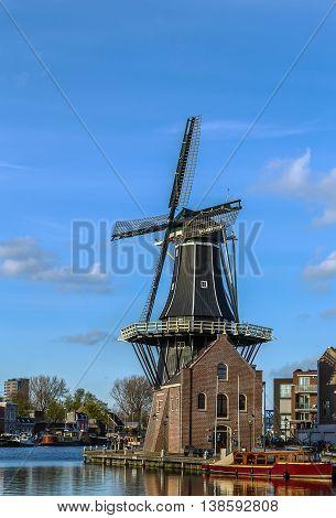 Windmill De Adriaan was rebuilt in 2002 Haarlem Netherlands