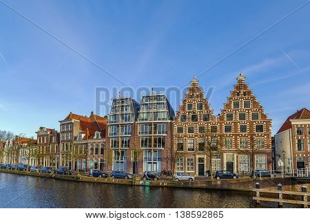 view of embankment of Spaarne river Haarlem Netherlands
