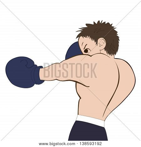 Young boxer in dark shorts trained on white background. Colored isolated vector illustration for emblem label badge flier leaflet or etc. Square location.