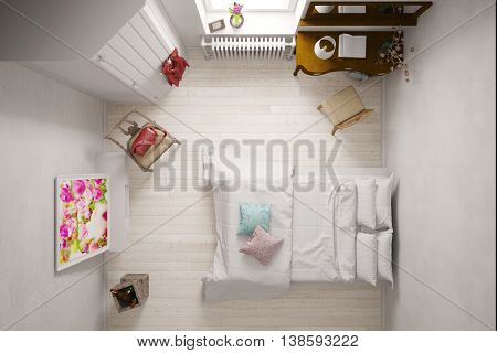 Double bed in hotel room from above (3D Rendering)