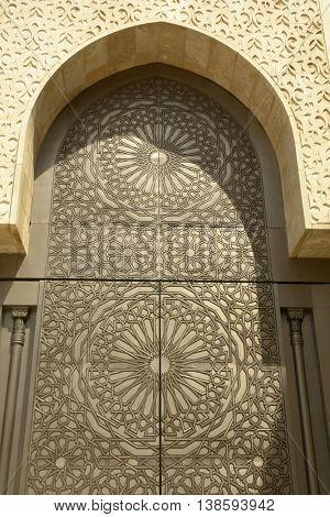 golden door detail in a mosk in Fez, in morocco