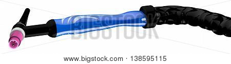 Tig welding handle on white background. 3d rendering.