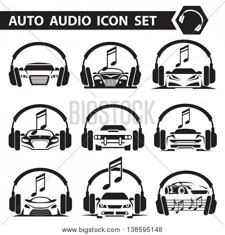 collection of nine icons with car radio and headphones