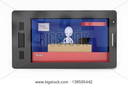 3d news reporting broadcasting on mobile concept in white isolated background
