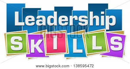 Leadership skills text written over colorful background.