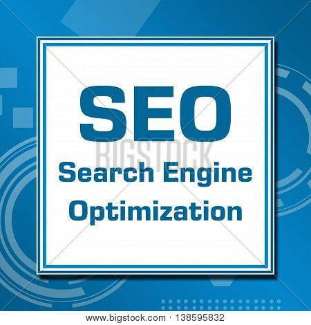 Seo concept image with text written over blue abstract background.