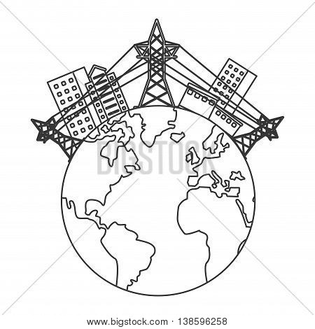 flat design earth globe with buildings and electricity towers icon vector illustration