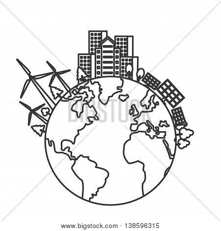 flat design earth globe with buildings and wind turbines icon vector illustration