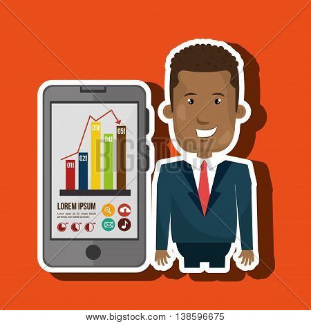 blazer man red tie smartphone isolated icon design, vector illustration  graphic