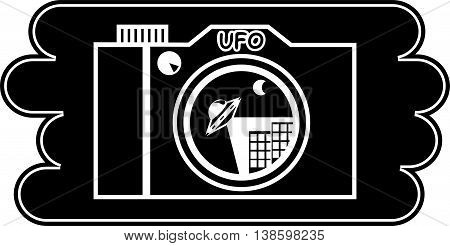 logo for company dealing with various paranormal phenomena. Depicts the camera to shoot a UFO over the city
